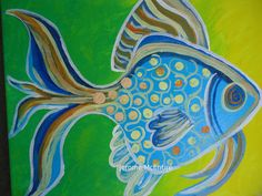 FISH Whimsical Funky Original Painting 8 x by creationsbyingrid1, $45.00