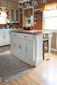 beautiful DIY kitchen island from inexpensive bulk store island
