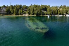 Most Incredible Sunken Ships on Earth 2 November 2013 Sweepstakes, Tobermory, Ontario Twenty feet underwater – but still visible from the su. Vacation Meme, Vacation Destinations, Travel Humor, Tug Boats, Water Crafts, Great Lakes, Beautiful World, Underwater, Cool Pictures