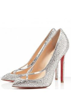 Glamorous Crystal Pointed Heeled Evening Shoes