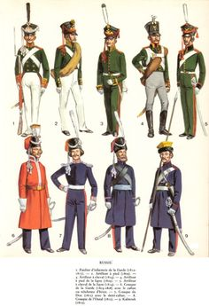 Top - Russian Fusilier and Russian Artillery.  Bottom - Russian Cossacks.