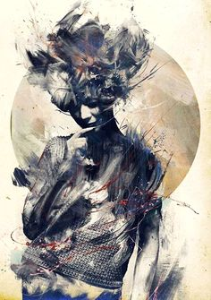 """Eurydice"" - Russ Mills {figurative #expressionist illustrator female abstraction standing woman smudged grunge painting #noveltechnique #loveart}"