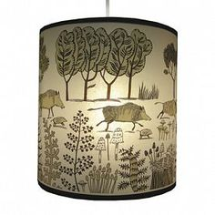 Wild pigs trotting through the woods with a border of fantastical ferns. Lovely Lush Design