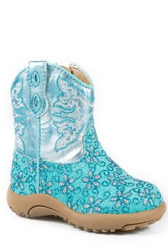 Roper Cowbabies Newborn Blue Faux Leather Glitter Flower Girls Boots