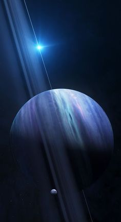 "Dark, cold & whipped by supersonic winds, Neptune is a hydrogen & helium gas giant in our solar system. Over 30 times as far from the sun as Earth, it takes almost 165 Earth years to orbit our sun. In 2011, Neptune completed its first orbit since its discovery in 1846. On Neptune, one ""day"" (time it takes to rotate once on its axis) takes 16 hours. It makes a complete orbit @ the sun in 165 Earth years. It has 13 moons & 6 rings. Photo: the ""sideways"" planet with vertically orbiting rings"