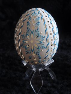 WaxEmbossed Carved Chicken Egg Easter Egg Pysanka by EggstrArt, $29.95