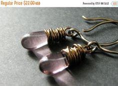 VALENTINE SALE BRONZE Earrings - Purple Drop Earrings Wire Wrapped Dangle Earrings. Handmade Jewelry.