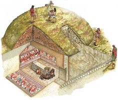 "Cross section of an Etruscan tomb. ""Ipotesi ricostruttiva di una tomba a tumulo di Tarquinia"""