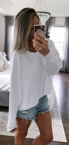 #summer #outfits Summer Sweaters. // White Oversized Sweater + Ripped Denim Short
