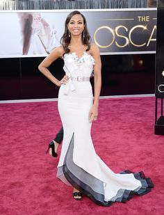"#Oscars2013: ""If there were an Oscar for Most Glamorous #RedCarpet Outfit, I'd vote for @ZoeSaldana in this Alexis Mabille Couture dress. Look at the neck detail, look at the two-toned train detail, and just look how impossibly fit it all makes her look!"""