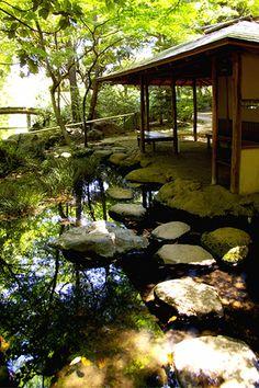 Japanese Garden, Rikugi-en, Tokyo rest house by a pond. It is neighboring Rikugi-en Garden here. Japanese Garden Design, Japanese House, Japanese Gardens, Tokyo, Japan Garden, Rest House, Japanese Architecture, Parcs, Ikebana