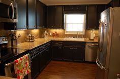 Decoration, Painted Black Kitchen Cabinets Design: Make Your Own Classic Kitchen With Black Distressed Kitchen Cabinet