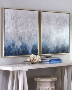 """Frost on Sapphire"" Paintings Soft and stunning in shades of blue and white with touches of brown, these hand-painted pieces are complement..."