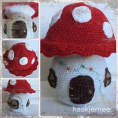 Mushroom House - free crochet pattern at Haakjemee. Dutch version here: Crochet Fairy, Crochet Dolls, Crochet Hats, Knitting Patterns Free, Crochet Patterns, Free Pattern, Crochet Mushroom, Mushroom House, Crochet Designs