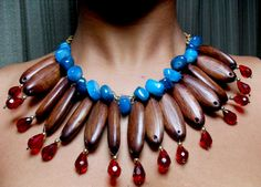 This lovely, statement jewelry was made by my friend, Lotanna. Totally love the colour mix and cultural African look.