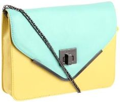 BCBGeneration Charlie UIO083GN Shoulder Bag,Yellow\ Light Turquoise