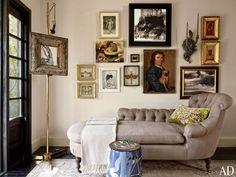 Luxuriate in the Living Room. Gallery wall. Interior Designer: Robert Passal.