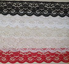 """QUALITY PRETTY LACE 2.5"""" wd  WHITE, BLACK, IVORY, PINK, RED - CHOICE!  5mts"""