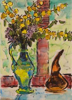 "Karl Hofer | Karl Schmidt-Rottluff: ""Lampionblumen im Glaskrug"", 1955"