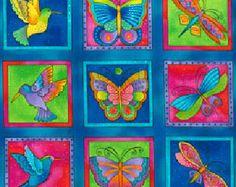 Tela de Laurel Burch mariposas colores de vuelo azul oscuro II