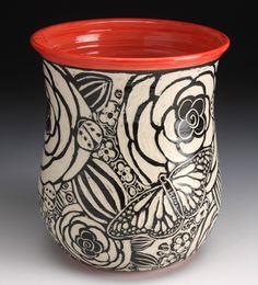 Sgraffito Butterfly Vase