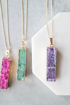 "Add a pop of color to your favorite outfit with this natural Druzy stone pendant. Details: - 27"" + 2"" extender - Lobster clasp closure - Gold plated metal - Handmade"