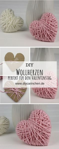 DIY Wollherzen schnell und einfach selber machen - schöne DekoThanks minipresents for this post.DIY super simple craft idea: make your own woolen hearts - perfect decoration or gift idea for Valentine's Day: DIY, crafts, gifts for Valentine's# cute Easy Crafts, Diy And Crafts, Kids Crafts, Love Gifts, Diy Gifts, Valentine Day Gifts, Valentines, Makes You Beautiful, Diy Décoration