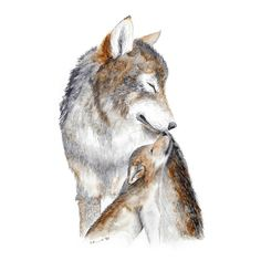 Mom and Baby Wolf #WolfTattooIdeas
