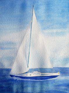 sailboat watercolor | Painting Sailboat