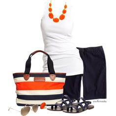 "I need to find a good quality, dressy, cotton white tank top! ""Navy and Orange"" by archimedes16 on Polyvore"