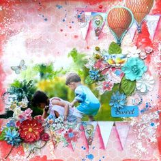 Divine layout + art mediums= beautiful layout by Solange Marques for Prima! www.prima.typepad.com