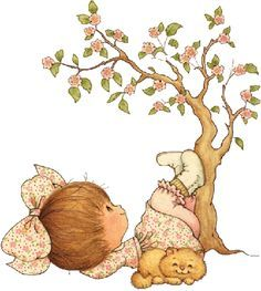 Ruth Morehead - Girl Lying Under Tree with Kitty Sarah Key, Cute Clipart, Holly Hobbie, Cute Images, Cute Illustration, Suzy, Vintage Cards, Cute Drawings, Cute Art