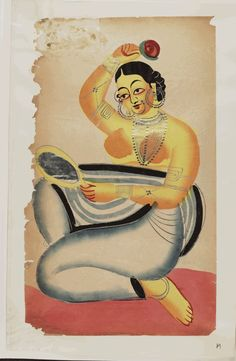 Kalighat paintings: Courtesan at her toilette. 1875. 44,5 x 28cm