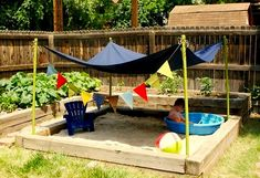 Love the tent over sand box to shade kids from sun  @Sarah Escamilla  @Becky Garcia
