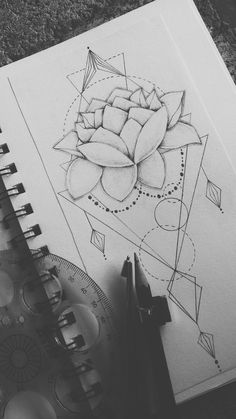 Geometrical Lotus Flower Tattoo Design