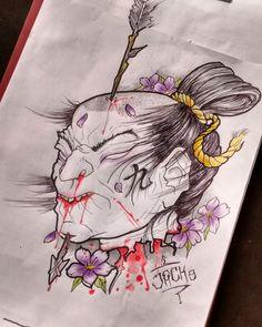 Namakubi tattoo design , samurái behead, oriental japanese tattoo design