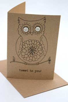handmade card ... doodle owl with button eyes ... kraft ... one layer ...