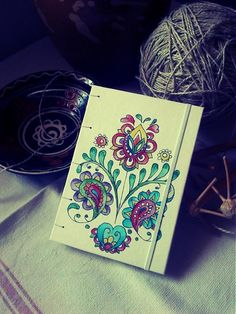ardeas / Ľudový zapisnik A6 (na objednávku) handmade bookbinding, journal with paint slovak folk ornaments