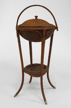 American Victorian wicker sewing table with woven basket top