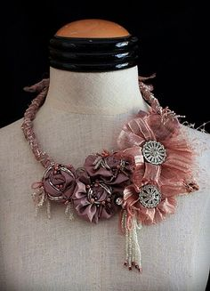 What a formal affair statement piece! ASHES OF ROSES Textile Vintage Mixed Media Statement Necklace Fiber Art Jewelry, Mixed Media Jewelry, Textile Jewelry, Fabric Jewelry, Jewelry Art, Beaded Jewelry, Beaded Necklace, Fashion Jewelry, Bib Necklaces