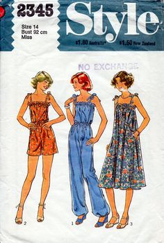 1970s Playsuit Jumpsuit and Sun Dress Pattern by BessieAndMaive