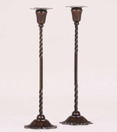 Lot: Marie Zimmermann Candlesticks, Lot Number: 0119, Starting Bid: $1,500, Auctioneer: California Historical Design, Auction: AcStickley Arts & Crafts Auction, Date: January 29th, 2017 PST