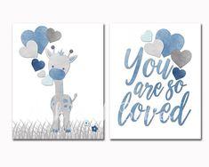 Bébé garçon chambre décoration murale chambre d'enfant girafe affiche douche décoration enfant cadeau nouveau-né enfants oeuvre bleu gris art vous êtes tellement aimé impression ............. ** Cette liste est pour deux impressions sans cadre de haute qualité qui sont 8 x 10 pouces