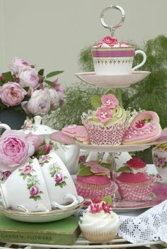 The perfect match, tea, cake and roses.