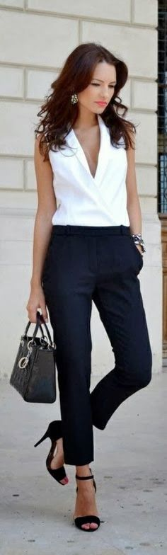 Stunning office outfit white top blue trousers pants handbag black heels summer clothing women style apparel fashion outfit casual
