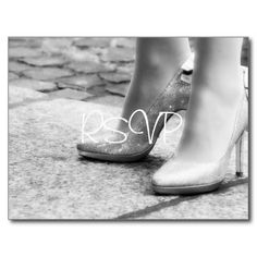 Bling Wedding Shoes RSVP Invitation with Photo Postcard