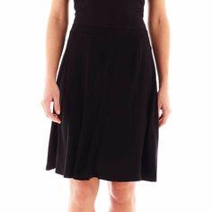 Liz Claiborne women's skirt gored knit A-Line black blushing hues size L NEW   16.99 http://www.ebay.com/itm/-/331686239047?