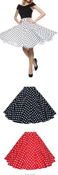 Maggie Tang 50s Retro VTG Pinup Rockabilly Swing Polka Dot Skirt