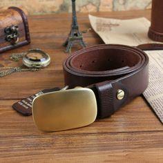 Fashion vintage solid color male genuine leather belt fashion cowhide smooth COPPER buckle belt