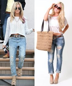 Go casual with ripped jeans & nude pumps! Shop online here: http://bit.ly/j9fM8G. #outfit #fashion